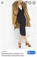 Michael Kors Fur  Trimmed  Wool And Cashemere Coat