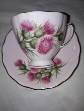 Colclough Tea Cup and Saucer Bone China Pink Heather