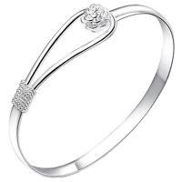 Great Women Bracelet Silver Plated Circle Rose Cuff Bangle Bracelet Jewelry BR