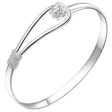 Great Women Bracelet Silver Plated Circle Rose Cuff Bangle Bracelet Jewelry QZ