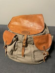 Vintage L.L BEAN CANVAS & LEATHER Continental Rucksack Backpack COMPLETE