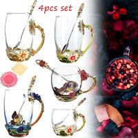 Enamel Glass Flower Tea Cup Coffee Mug Cups + Spoon Set Box Party Wedding Gift