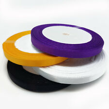 25 Yard x 4 Satin Ribbon Halloween Black Orange Purple Craft Gift Wrapping 5mm