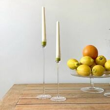 Glass Handcrafted Tall Candlestick Candle Holders - Sets of 2 - Choice of styles