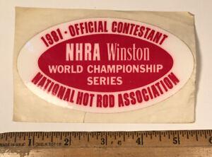 Vintage 1981 Contestant NHRA Winston Championship Drag Racing Decal Sticker