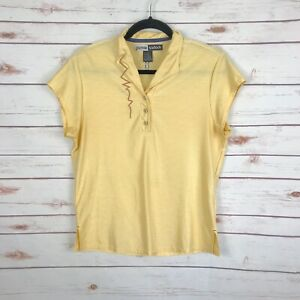 Jamie Sadock Yellow Top Embroidered Design Short Sleeve Polo Golf Size M