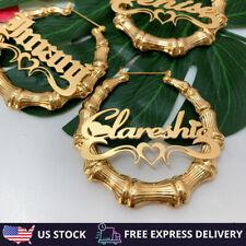 Personalized Custom Name Bamboo Hoop Earring Women 18k Gold Fashion Jewelry Gift