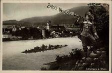 """Säckingen am Rhein """"Behüt Dich Gott"""" alte AK 1934 Rheinpartie Trompeter Musiker"""