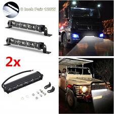 "2Pcs 60w 8"" Slim LED Spot Work Light Bar Waterproof Car SUV ATV Off Road Lamp"