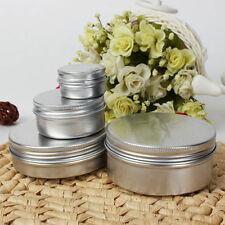 Empty Aluminium Cosmetic Pot Jar Tin Container Silver Sample lined EPE insert