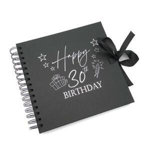 30th Birthday Present Black Scrapbook, Guest Book, Photo album silver Script