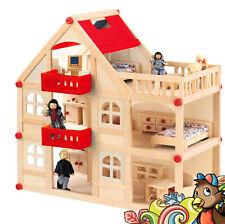 Puppenhaus XL aus Holz mit 4 Puppen und 15 Möbeln 3 Etagen Puppenstube