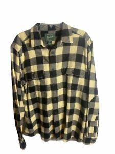Woolrich Mens Flannel Shirt Yellow Buffalo Plaid 100% Cotton Flap Pockets L