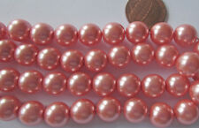20 Deluxe Czech Glass 10mm Big Pink Pearl Round Necklace Beads