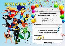 5 - 12 ou 14 cartes invitation anniversaire super girl réf 51