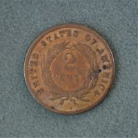 1865 US 2 Cents Large Copper Cent Piece F-VF Condition A-1110