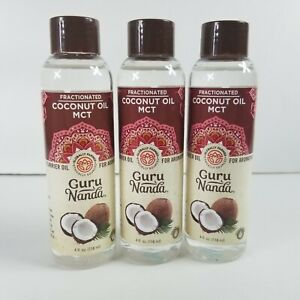 3x Gurunanda Fractionated Coconut Oil MCT Carrier 4oz. Massage Aromatherapy BL