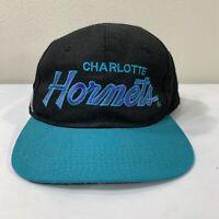 Vintage Charlotte Hornets Hat Sports Specialties Script Snapback Cap 90s NBA
