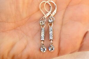 Altered Brighton Silver Etched Bead & Crystal On Lever Back Earrings
