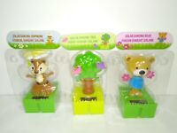 Lot of 3 Connectable Solar Dancing Nature Figures! Tree Birds, Bear, Squirrel!!