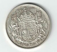 CANADA 1947 ML 50 CENTS HALF DOLLAR KING GEORGE VI CANADIAN .800 SILVER COIN