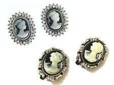 Crystal Cameo Costume Earrings