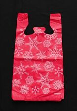 100 Plastic T-Shirt Bags ~ White Snowflakes on Light Red Bags
