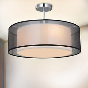 Ceiling Light, SPAKRSOR Modern Fabric Pendant Light Shade, Large Black Drum 2 3