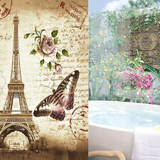 Retro Eiffel Tower Butterfly Fabric Shower Curtain Bathroom Waterproof +12 Hook