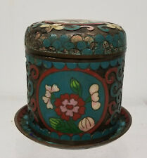 Antique Vintage Chinese Cloisonne Enamel Tea Caddy Covered Jar As Is