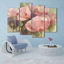 Pink flower painting 4PCS HD Canvas Print Home Decor Room Wall Art picture