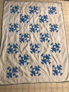 """Antique Blue And White handmade vintage baby quilt 36x52"""" ducks on the pond"""