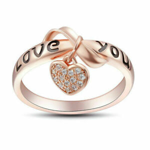 Fashion Heart Rose Gold Rings for Women White Sapphire Jewelry Size 9