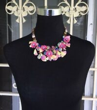 J.Crew Wild Bloom Crystal Flower Necklace Vibrant Fuchsia With Dust Bag $138 NWT