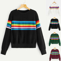 Fashion Women Striped Long Sleeve Blouse Patchwork Sweatershirt Pullover Tops US