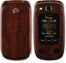 Skinomi Phone Skin Dark Wood Cover+Clear Screen Protector for Samsung Convoy 2