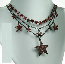 Vintage PILGRIM Necklace STAR Charm Red Black Enamel & Swarovski Stones BNWT