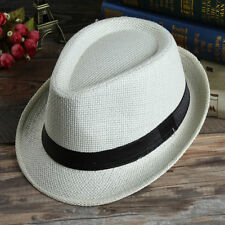 2d4b252d63a51 Straw Fedora Hat Trilby Cuban Cap Summer Beach Sun Panama Wide Brim Floral