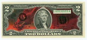 Colorized 2 Dollar Federal Reserve Note Fire Dragon Bill Original Art