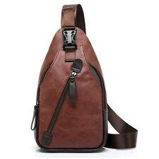 Men PU Leather Travel Hiking Cross Body Messenger Shoulder Sling Pack Chest Bag