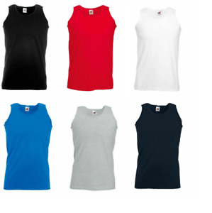 3-Pack Fruit of the Loom Mens 100% Cotton Athletic Vest Adult Plain Tank Top New