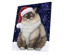 Let it Snow Christmas Ragdoll Cat Tempered Cutting Board Large Db22
