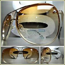 Mens Women CLASSIC VINTAGE RETRO Style SUN GLASSES Gold Frame Honey & Clear Lens