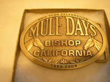 2009 Bishop Mule Days CA limited Brass commemorative Belt Buckle NEW