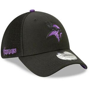 Limited Ed. NWT Authentic Minnesota Vikings New Era 39THIRTY Flex Hat Black