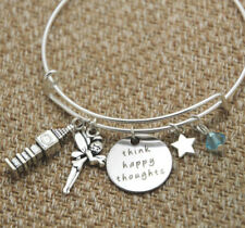 Peter Pan Inspired bracelet Peter Pan Think Happy Thoughts crystals bangles