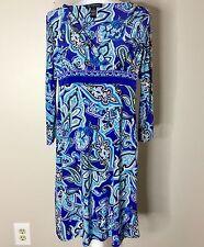 INC International Concepts Women's Dress Blue Paisley Vneck 3/4 Sleeve Career