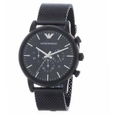 c6e2a544977f Emporio Armani Hombres Cuarzo Acero Inoxidable Negro Reloj de Pulsera Malla