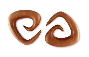 Pair Red Saba Wood Triangle Spirals Gauges