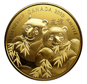 🇨🇦 Canadian $8 Dollars Pure Silver Gold-Plated Coin, PANDA BEAR, UNC, 2019